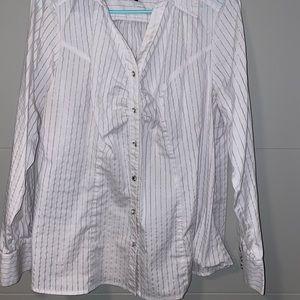 Lane Bryant white striped Blouse size 16